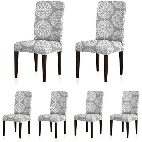 ColorBird Medallion Style Spandex Chair Slipcovers Removable Universal Stretch Elastic Chair Protector Covers for Dining Room, Restaurant, Hotel, Banquet, Ceremony (Set of 6, Gray) (Chair Dining Medallion)