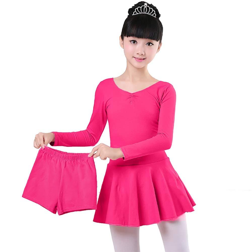 B(Long sleeve) Jian E& Vêtements de Danse - Costumes de Danse pour Enfants - Costumes de Danse pour Enfants d'été à Manches Courtes - Deux pièces pour Filles - Ballet Jupe - Vêtements d'exercice pour Enfants - Rose