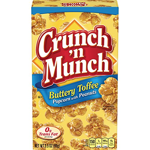 CRUNCH 'N MUNCH Buttery Toffee Popcorn with Peanuts, 3.5 oz. (Pack of ()