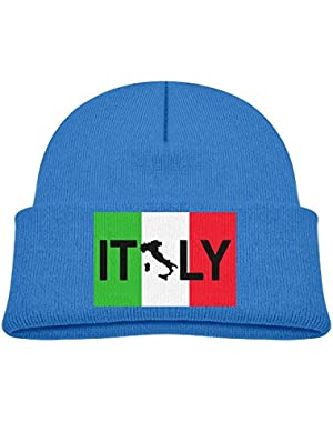 Kids Funny Italy Flag Italian Map Silhouette Casual Flexible Winter Knit Hats/Ski Cap/Beanie/Skully Hat Cap