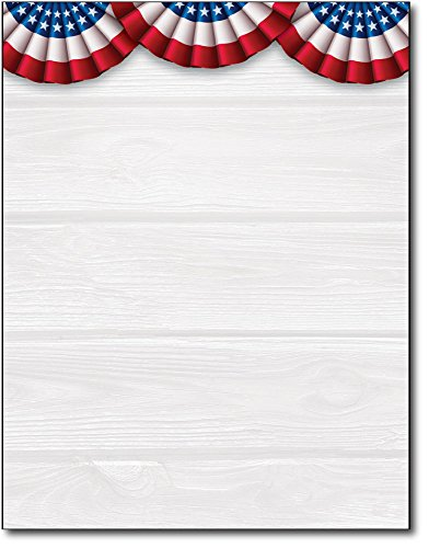 Patriotic Banners American Stationery Paper - 80 Sheets - Perfect for 4th of July, Veteran's Day, Memorial Day, and other patriotic holidays! - Banner Paper Printers