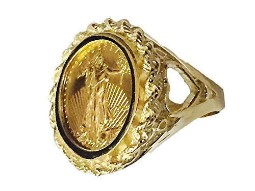 22 Kt 1/10Oz Lady Liberty Coin Set In 14 Kt Solid Yellow Gold Ladies Coin Ring (Random Year Coin) - Gold Coin Ring
