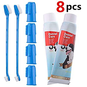 CooZero Dog Dental Care Kit, 2 Pack Dog Toothpaste and Dog Toothbrush Set Pet Soft Toothbrush Dog Finger Toothbrushes Pet Toothbrush for Cats and Dogs – Small to Large Dogs
