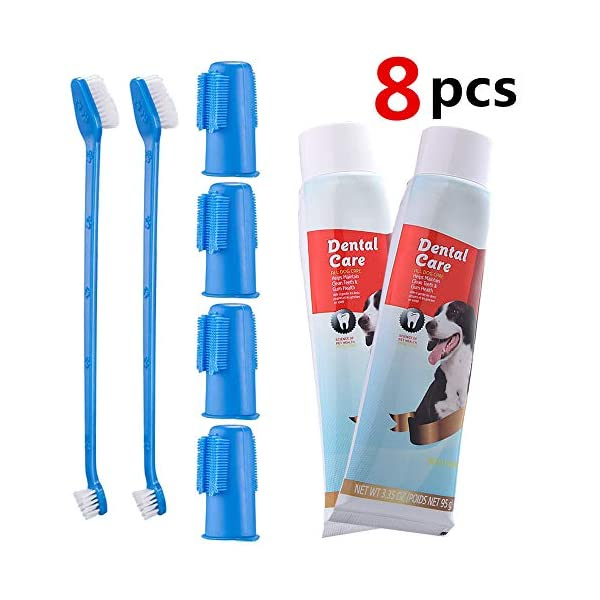 CooZero Dog Dental Care Kit, 2 Pack Dog Toothpaste and Dog Toothbrush Set Pet Soft Toothbrush Dog Finger Toothbrushes Pet Toothbrush for Cats and Dogs - Small to Large Dogs 1