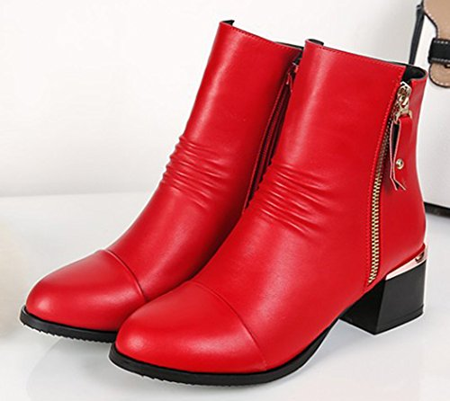 Boots Toe Women's Mid Chic Red Short Chunky Up Aisun Heels Round Zip 6awfqv