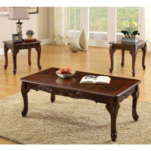 Fraser Old English Style Cherry Finish 3 Piece Coffee & End Table (Parquet Occasional Table)