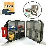 Pill organizer 10 Compartments Travel Portable, Pill Case for Purse, Pill Box for vitamin 2Pcs (black+white)