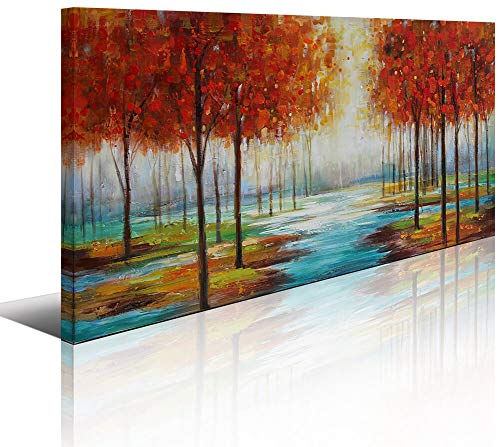 Red Forest Hand-Painted Canvas Painting Wall Art Picture for Living Room Large Abstract Red Tree Forest Landscape Artwork Home Bedroom Office Wall Decoration Modern Framed ()