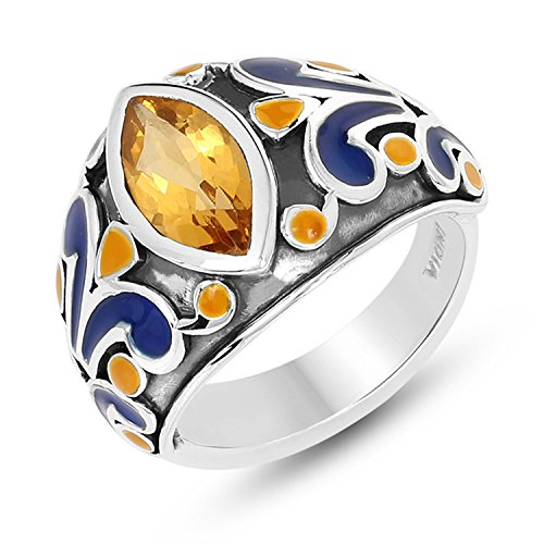 STELLAR DESIGNS Genuine Citrine rings in .925 Sterling Silver (Ring Enamel Flower)