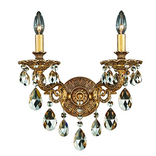 Schonbek 5642-22S Milano 2-Light Wall Sconce in Heirloom Gold with Clear Crystals From Swarovski