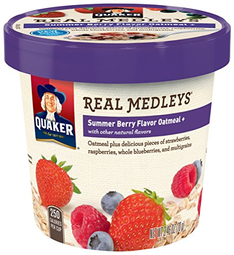 030000315521 - Quaker Real Medleys Oatmeal+, Summer Berry, Instant Oatmeal+ Breakfast Cereal, 2.46 oz Cup (Pack of 12) carousel main 2