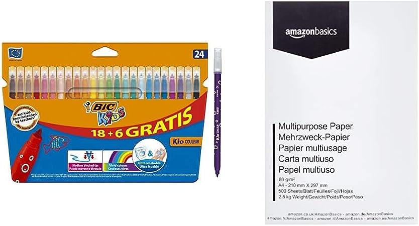 BIC Kids Kid Couleur rotuladores punta media - colores Surtidos, Caja de 18+6 + AmazonBasics Papel multiusos para impresora A4 80gsm, 1 paquete, 500 hojas, blanco: Amazon.es: Hogar