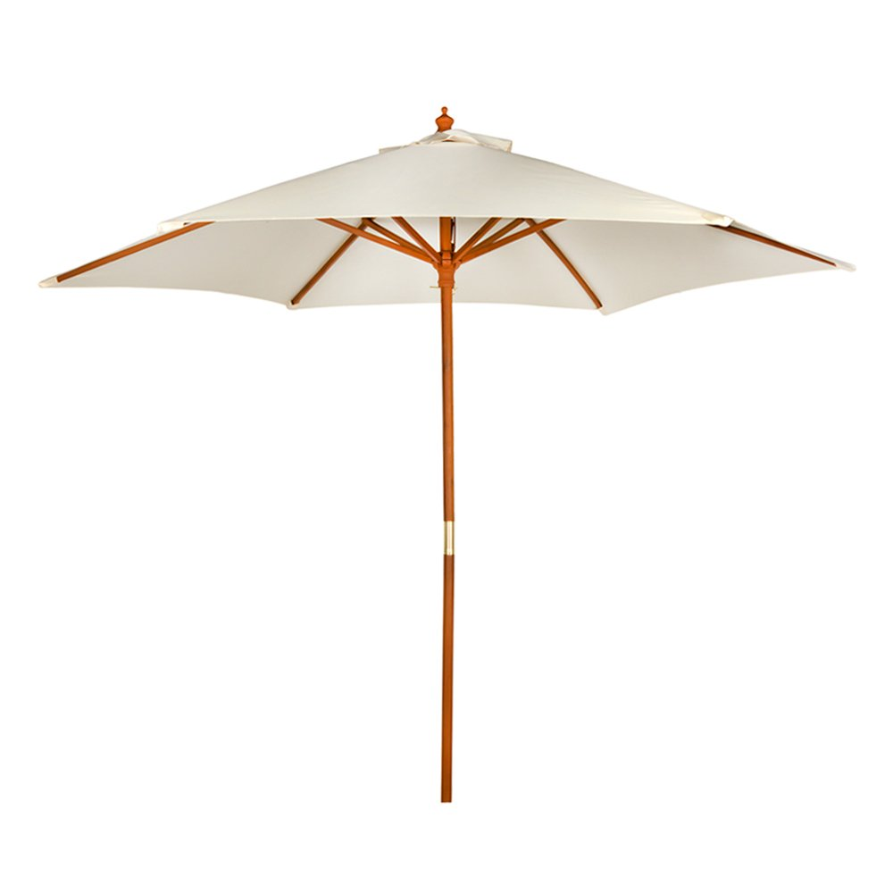 Aktive Parasol 270 x 270 cm, Wooden Mast with Diameter of 38 cm, Cream (colorbaby 53860)