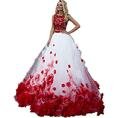 XIA Sleeveless Red Hand Make Flowers Two Piece Ball Gowns Long Formal Prom Dress Quinceanera Dress