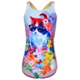 Little Girls' Youth Animal Print Pink Cat with Glasses One-Piece Swimsuit