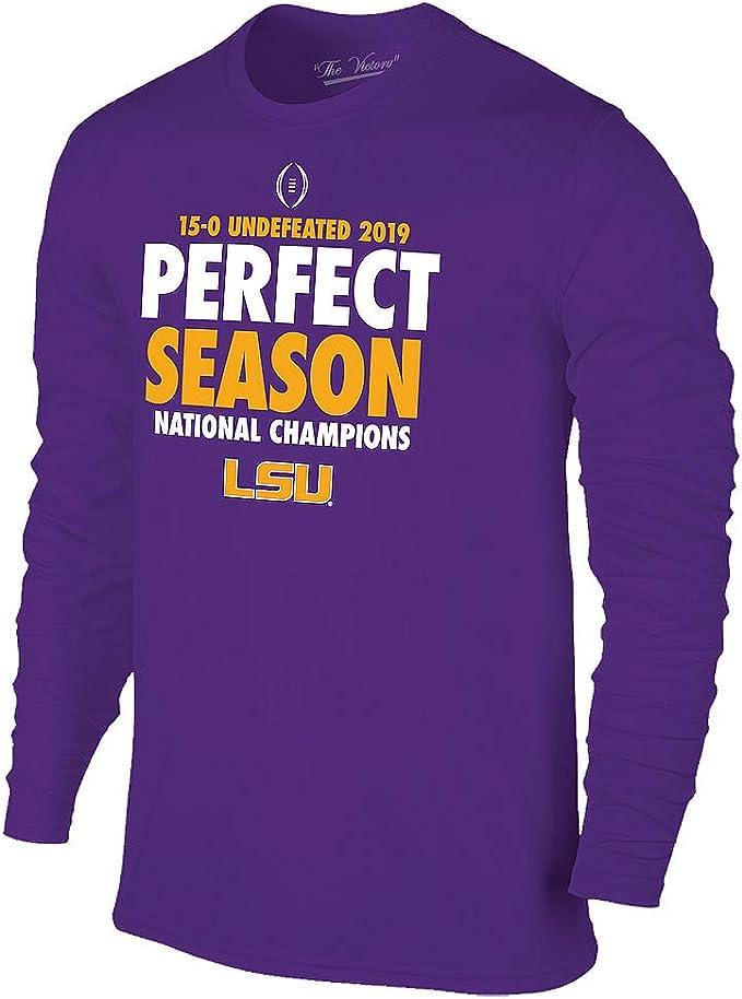 Elite Fan Shop LSU Tigers National Championship Champs Long Sleeve Tshirt 2019-2020 Perfect Season Purple
