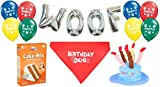 Dog Birthday Party Decorations Kit by Blast in a Box (Blue Hat): Puppy Cake Mix, Birthday Dog Cotton Bandana, Cake Hat, WOOF and Pawty Balloons