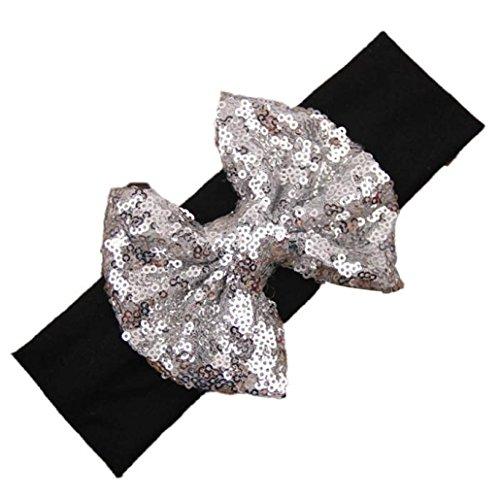 coromose Elastic Headband Cute Sequins Bow Baby Girl Hair Accessories (Sequin Bow Headband)