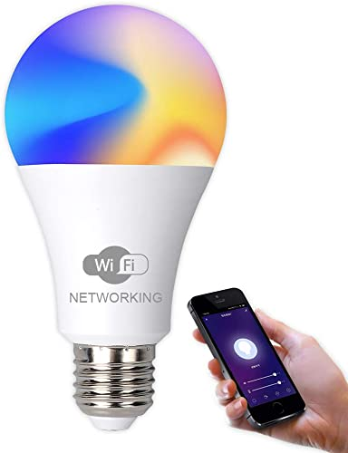 Changeable RGB Bulb Light WiFi Smart Light Bulb E27 AC100-265V 15W White Dimmable LED Compatible