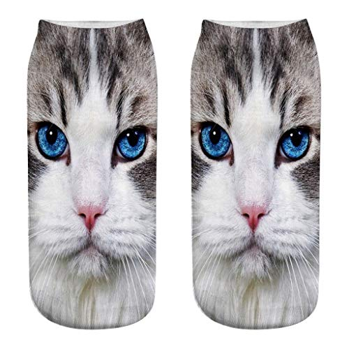 Clearance!Women 3D Novelty Crazy Funny Cat Ankle Socks Cute Colorful Cartoon Low Cut Socks | Socks Men Women Pack Low Cut no Show Ankle (Best Breeze Cotton Candy Machines)