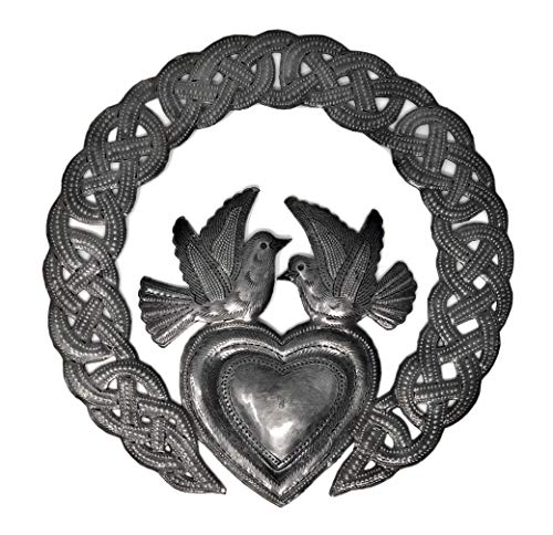 Claddagh, Haitian Heart, Irish Metal Symbol with Birds, Home Accent Decor, Love, Friendship, Unique, Handmade in Haiti, 6