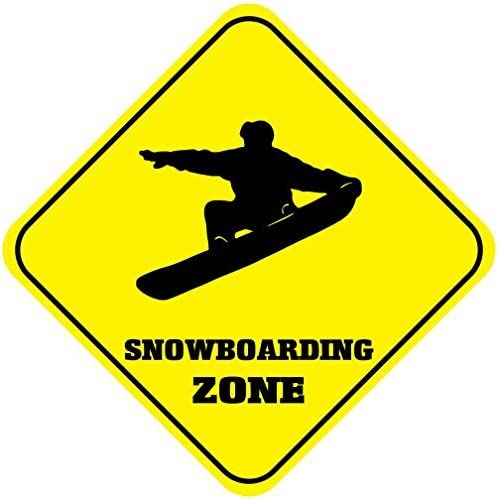 Snowboarding Zone Caution Sign Crossing Sign Outdoor Yellow Diamond Metal Signs Novelty Funny Aluminum Sign Yard Sign Metal Wall Plaque 12x12 inches