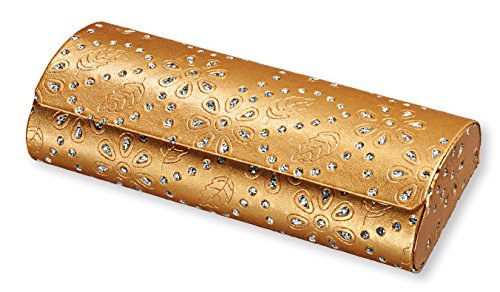 Hard Shell Eyeglass Case For Women, Girls, Teens- Faux Leather & Glitter, Gold