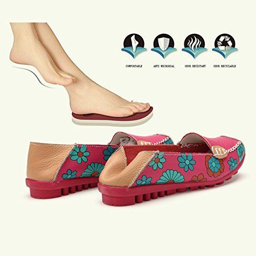 Women's Casual Moccasins Leather Flats Rose on Slip Red Stainlizard Driving Loafer Shoes qH1X5dH