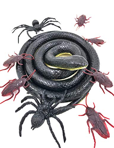 Mimgo-shop Realistic Rubber Snake Toy Garden 50 Inch Black Snake Scary Prank Props for Practical Jokes, Halloween, Tricky April with 2 Spiders and 6 Cockroaches Toy