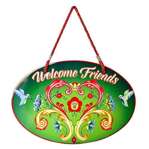 Essence of Europe Gifts E.H.G Welcome Rosemaling Green Ceramic Door Sign