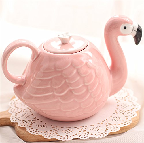 RISEON 3D Cute Ceramic Pink Flamingo shaped Teapot Cup Jug Tea Kettle Water Bottle Dinner Set Gift,21 Ounce (Teapot)