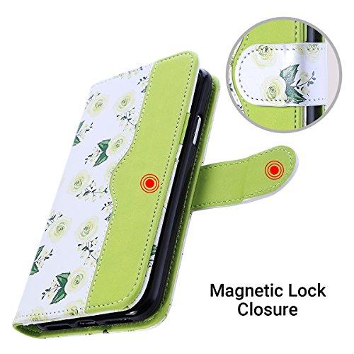 Funda iPhone X, Funda iPhone 10, Funda ULAK PU piel X Wallet con compartimentos para tarjetas de crédito Funda compartimentada Caja magnética Flip Folio para iPhone 10 - Rosa / lavanda rosa / verde