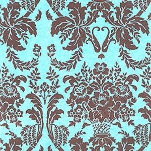 Damask Brown and Aqua Blue Tissue Paper - 20 sheets - 20in. X ()