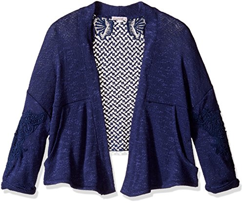 Ella Moss Girls' Slim Size Perrie Loose Knit Wrap, Navy, 14 (Ella Moss Wrap)