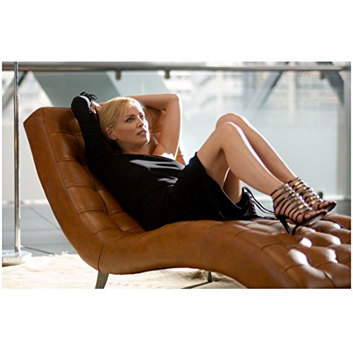 Basic Instinct 2 8 Inch x 10 Inch Photo Sharon Stone Reclining on Brown Leather Chaise kn