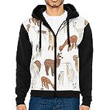 Mens 3D Graphic Sweatshirts Happy Alpaca Cool Zip Up Jacket