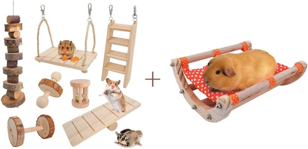JanYoo Rabbit Toys Guinea Pig Chinchilla Bunny Hamster Chew Toys (Pack of 7) & Guinea Pig Bed Hedgehog House Pad Bed Toy