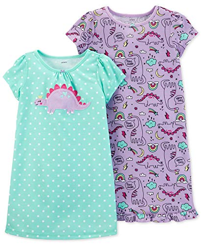 Carter's Little Girls' 2 Pack Knee Length Nightgowns (12-14, Mint/Dino)