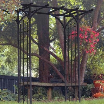 (Panacea 89088 Steel Flat Top Arbor with Finials, Black)