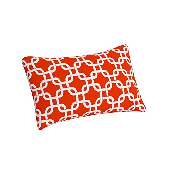 """Majestic Home Goods Red Links Indoor / Outdoor Small Throw Pillow 20"""" L x 5"""" W x 12"""" H - Dimensions - 20 in. x 12 in. x 5 in. (approx.) Perfect portable size for all indoor and outdoor environments U.V. Treated Covers - these throw pillows uses an outdoor treated polyester and cotton cover that offers up to 1000 hours of protection Ultra Comfortable - the pillows are filled with our Super High Loft PolyFiber Fill to give them an ultra-soft cushion feel - patio, outdoor-throw-pillows, outdoor-decor - 51ZGfNRjYjL. SS570  -"""