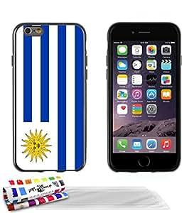 """Carcasa Flexible Ultra-Slim APPLE IPHONE 6 PLUS 5.5 POUCES de exclusivo motivo [Bandera Uruguay] [Negra] de MUZZANO  + 3 Pelliculas de Pantalla """"UltraClear"""" + ESTILETE y PAÑO MUZZANO REGALADOS - La Protección Antigolpes ULTIMA, ELEGANTE Y DURADERA para su APPLE IPHONE 6 PLUS 5.5 POUCES"""