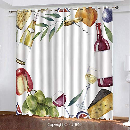 - Satin Grommet Window Curtains Drapes [ Wine,Round Frame with Hand Painted Food Objects Watercolor Wine Cheese Fruits Collection Decorative,Multicolor ] Window Curtain for Living Room Bedroom Dorm Room