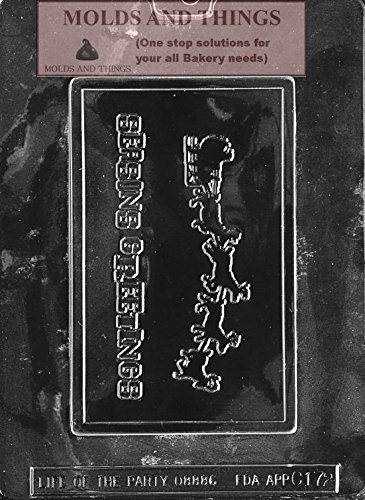 SEASONS GREETING WITH SLEIGH Chocolate Candy Mold, Christmas Chocolate Candy Mold With Copyrighted Chocolate Molding Instructions