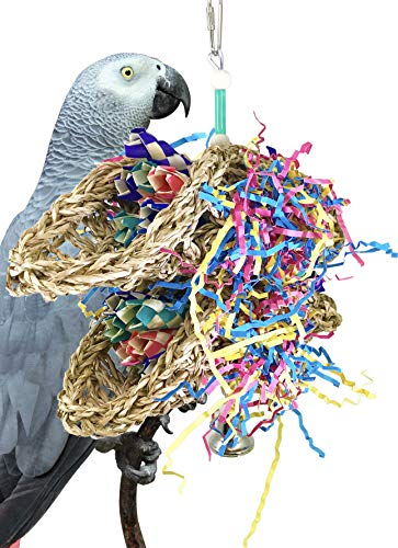 - Bonka Bird Toys 3123 Duo Mini Taco Bird Toy Parrot cage Medium Conure Forage African Grey Shred Treat Chewing Paper Quaker Preen Accessories Amazon Supplies Seagrass Bamboo
