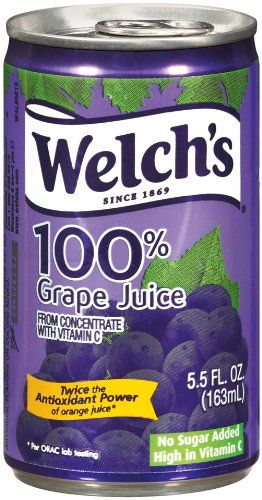 Welch's 100% Juice, No Sugar Added, Concord Grape, 5.5-Ounce Cans (Pack of 48)