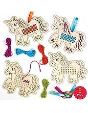 Baker Ross Kits de punto de cruz de madera Unicornio (Pack de 5) - Ideales para manualidades y decoraciones navideñas