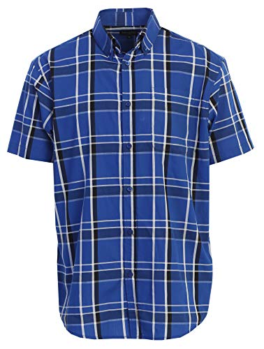 (Gioberti Men's Plaid Short Sleeve Shirt, Royal Blue/Black Highlight/White Gradient,)