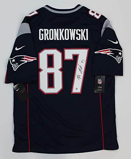 big sale e6f82 ccd86 Rob Gronkowski Blue New England Patriots Jersey - Hand ...
