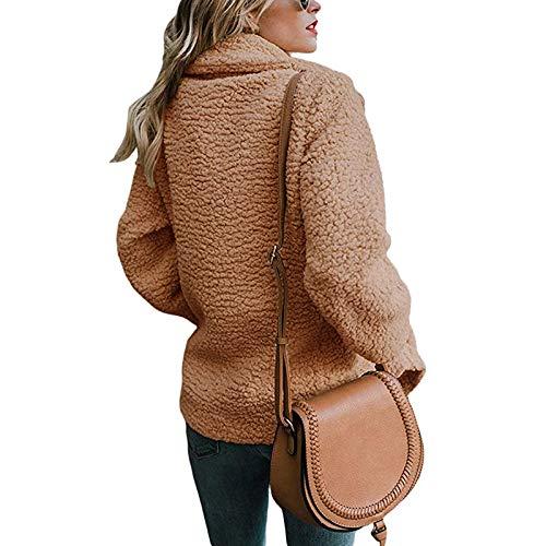 Kaki ASSKDAN Boutons Blouson Manteau Femmes Revers Coat Chaud Outerwear Manches Longue Veste PrqPS8vw