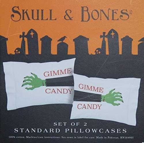 Skull & Bones Halloween Monster Hands - Gimme Candy Pillowcases - Set of 2 -